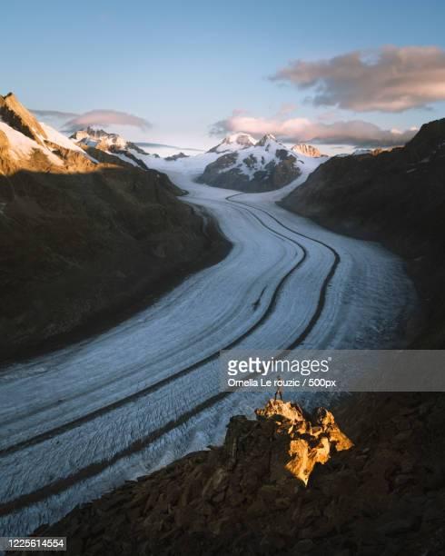 landscape with view of aletsch glacier, fiesch, valais canton, switzerland - gletscher stock-fotos und bilder