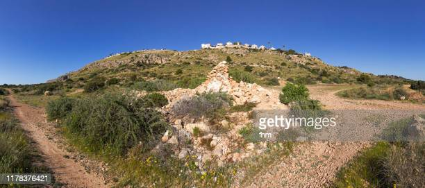 landscape with village on a hill (spain) - spanien stock pictures, royalty-free photos & images