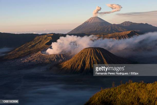 landscape with volcano - bromo tengger semeru national park stock pictures, royalty-free photos & images