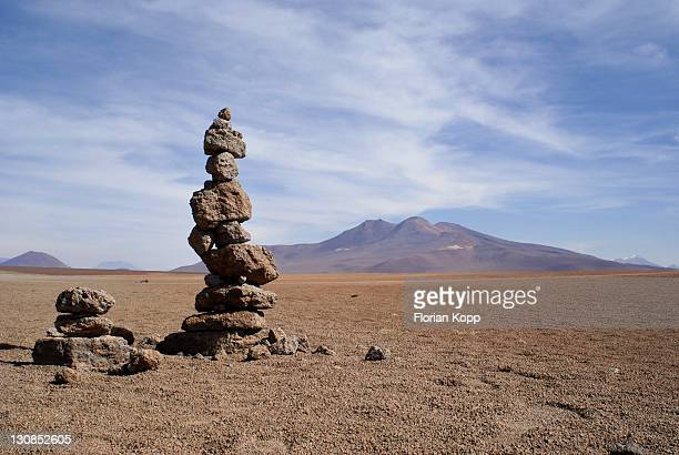 Landscape with Vulcano and Cairn, Uyuni Highlands, Bolivia