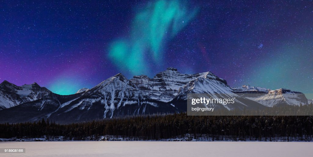 landscape-aurora and mountain : Stock Photo