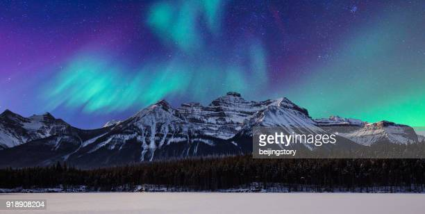 landscape-aurora and mountain - aurora borealis stock pictures, royalty-free photos & images