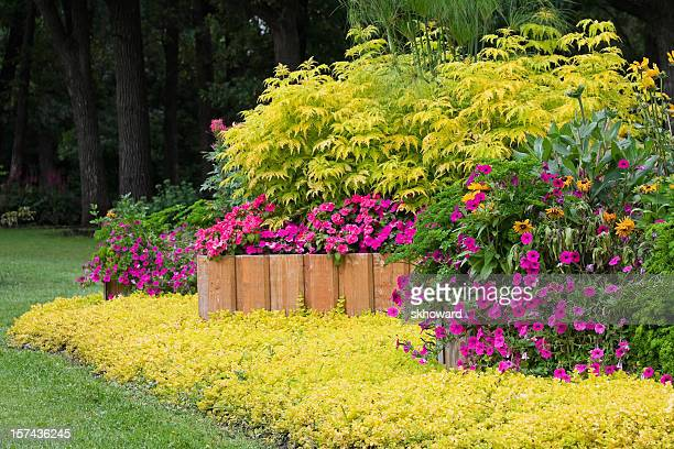 landscaped garden with raised planters - retaining wall stock pictures, royalty-free photos & images
