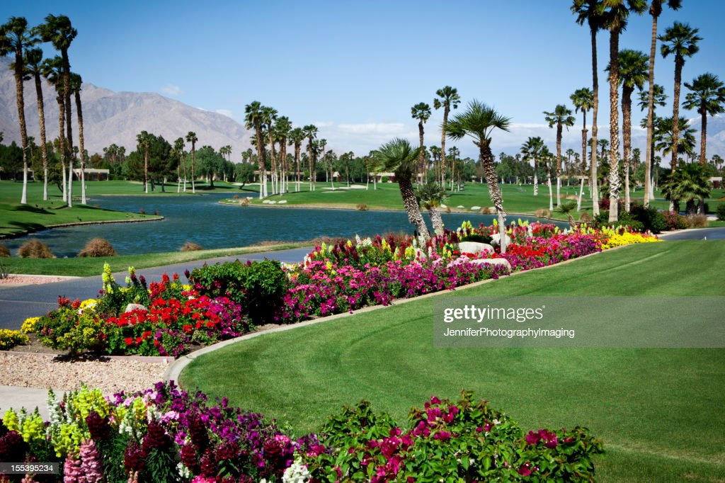 Landscaped Gardens On A Golf Course : Stock Photo