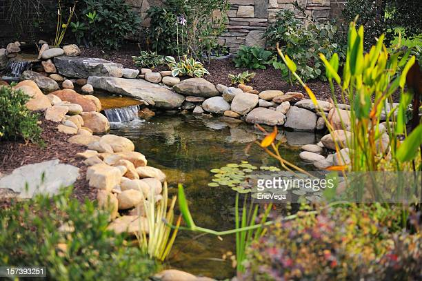 landscaped koi pond - pond stock pictures, royalty-free photos & images