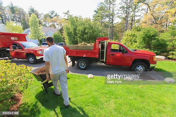 landscaper moving mulch from a truck - mulch stock pictures, royalty-free photos & images