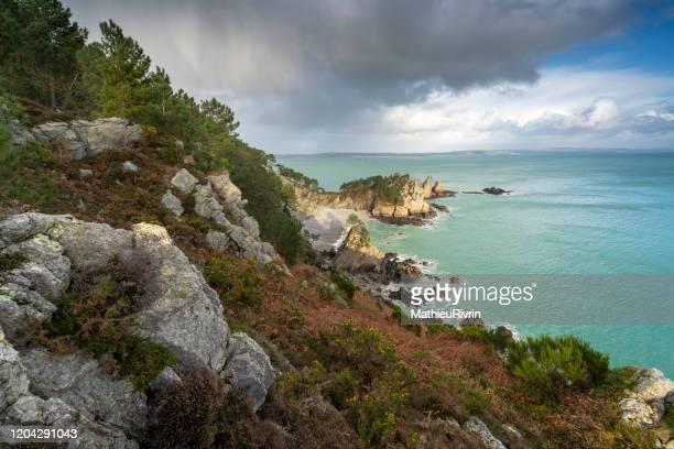 landscapes of brittany - saint hernot, crozon, morgat - littoral photos et images de collection