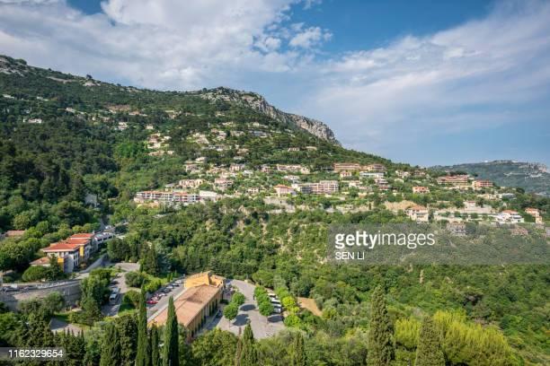 landscapes of eze ville, nice, france - eze village photos et images de collection