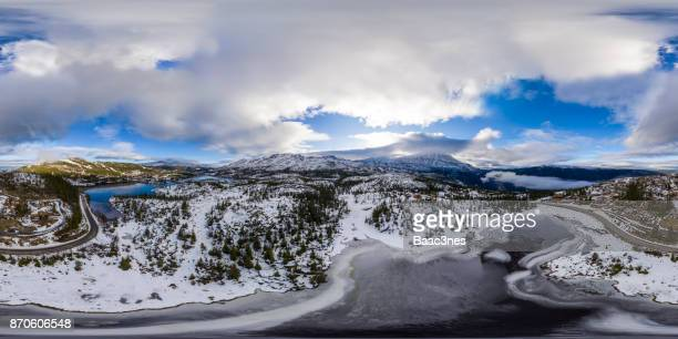 360 vr landscapes - winter arrives at gaustatoppen - nationell sevärdhet bildbanksfoton och bilder