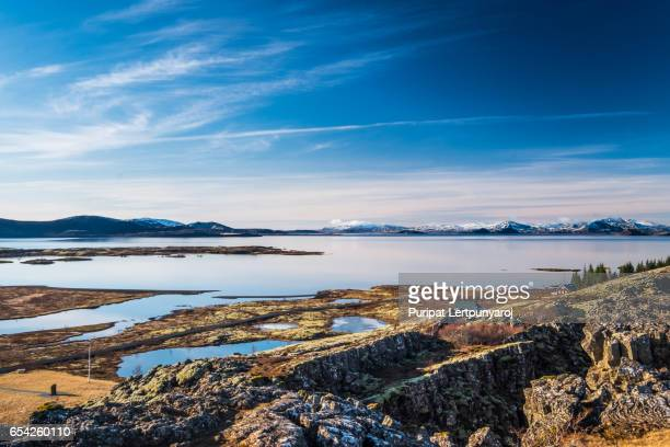 landscpae of the thingvellir national park in iceland - pingvellir national park stock photos and pictures