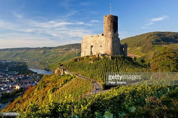 landshut castle above mosel river, germany - moselle imagens e fotografias de stock