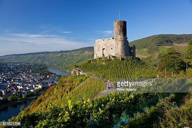 landshut castle above moselle river - moselle stock-fotos und bilder