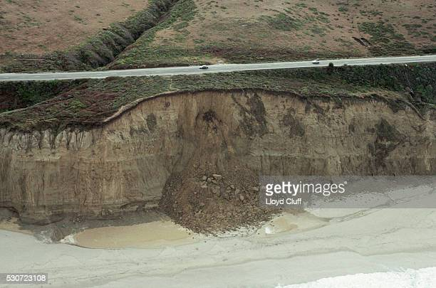 Landslide Along a Coastal Highway