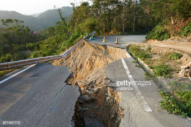 landslide damage caused by typhoons in okinawa - landslide stock pictures, royalty-free photos & images