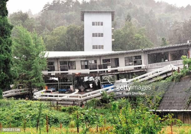 A landslide hits a building due to heavy rain on July 7 2018 in Takayama Gifu Japan 51 people were killed and 58 missing The deluge triggered by the...