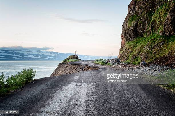 landslide hole in the street rough nature iceland - landslide stock pictures, royalty-free photos & images