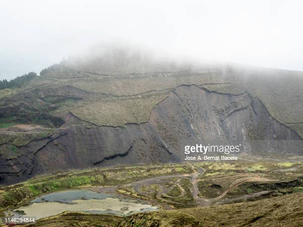 landslide of lands in a forest in terceira island in the azores islands, portugal. - landslide stock pictures, royalty-free photos & images