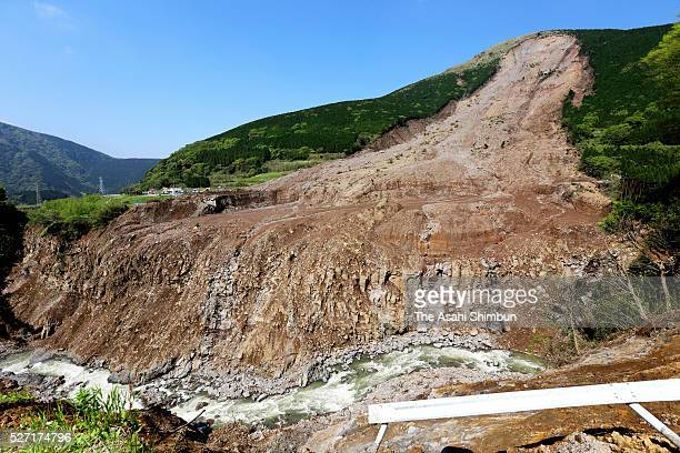 A landslide site before the operation of a missing man halted on May 01 2016 in Minamiaso Kumamoto Japan More than 12000 homes and buildings in...