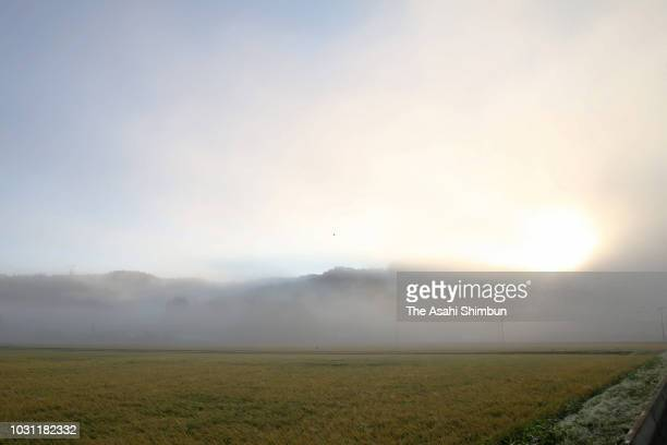 Landslide sites are covered by heavy fog on September 11 2018 in Atsuma Hokkaido Japan A male resident in Atsuma who was the last reported missing...