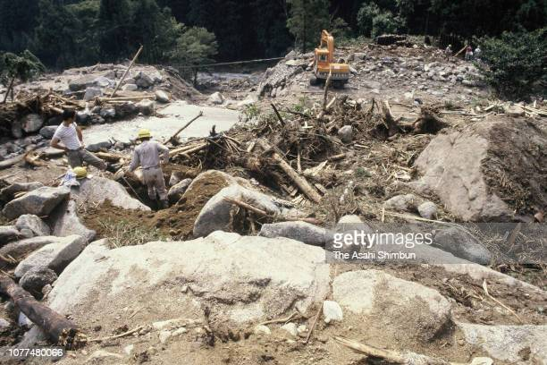 Landslide triggered by Typhoon Bess is seen on August 4, 1982 in Ureshino, Mie, Japan.