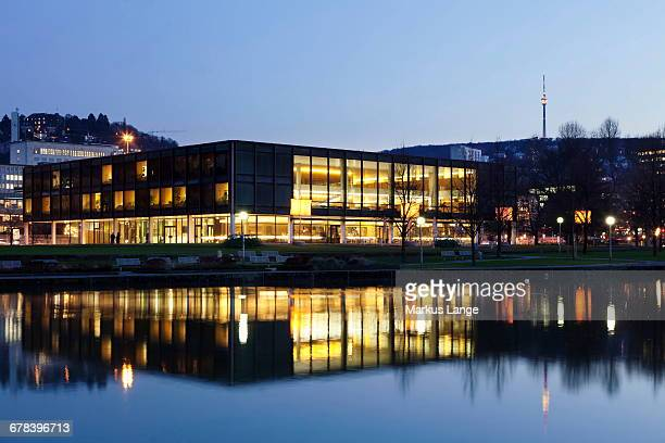Landtag parliament house of Baden Wurttemberg and Fernsehturm television tower at night, Stuttgart, Baden Wurttemberg, Germany, Europe