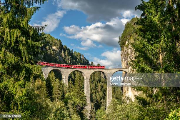 landwasser viaduct, unesco world heritage site rhaetian railway, switzerland, europe - europe stock pictures, royalty-free photos & images