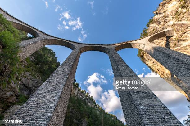 landwasser viaduct, unesco world heritage site rhaetian railway, switzerland, europe - man made structure stock pictures, royalty-free photos & images