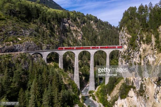 landwasser viaduct, unesco world heritage site rhaetian railway, switzerland, europe - viaduct stock pictures, royalty-free photos & images
