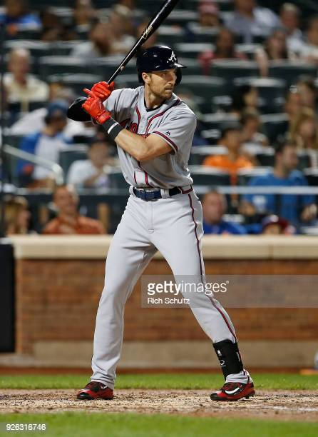 Lane Adams of the Atlanta Braves in action against the New York Mets during the second game of a doubleheader at Citi Field on September 25 2017 in...