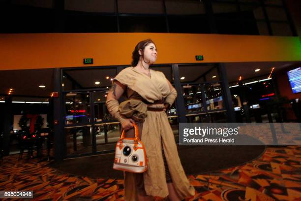 Lane Boucher of Biddeford poses for a photo wearing her Rey costume in the lobby of Cinemagic in Westbrook on Thursday for the nationwide opening of...