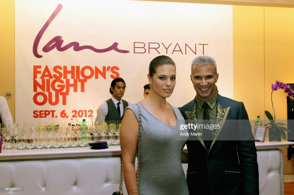 Lane Bryant model Ashley Graham (L) and Jay Manuel pose for a photo during Fashion Guru Jay Manuel Hosts Lane Bryant's Fashion Night Out on September 6, 2012 in Brooklyn, New York.