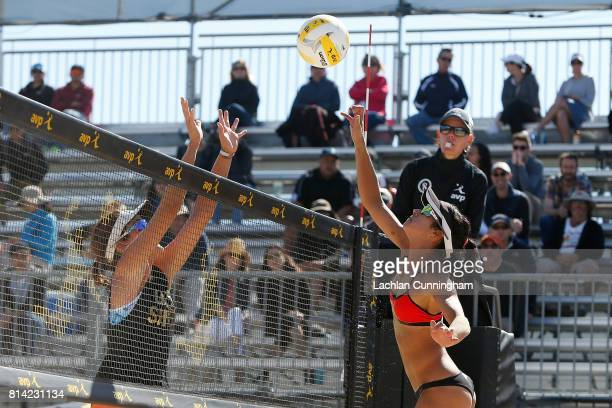 Lane Carico hits the ball past Angela Bensend in their semifinal match during day 4 of the AVP San Francisco Open at Pier 3032 on July 9 2017 in San...