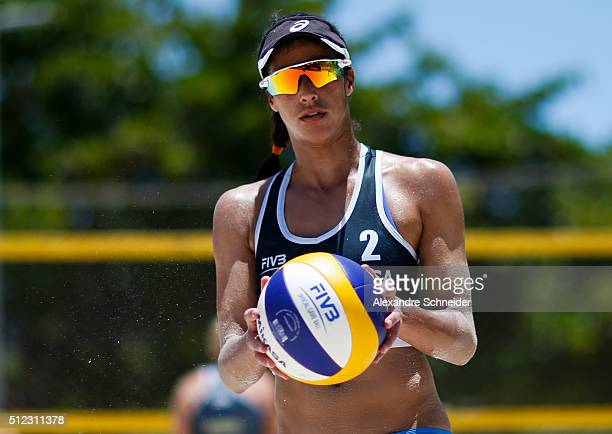 Lane Carico of the Unites States competes in the main draw match against Germany at Pajucara beach during day three of the FIVB Beach Volleyball...