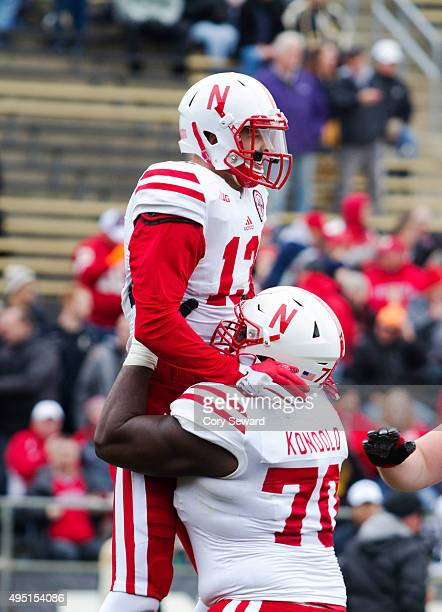 Lane Hovey celebrates after a touchdown in the third quarter with Chongo Kondolo of the Nebraska Cornhuskers against the Purdue Boilermakers at...