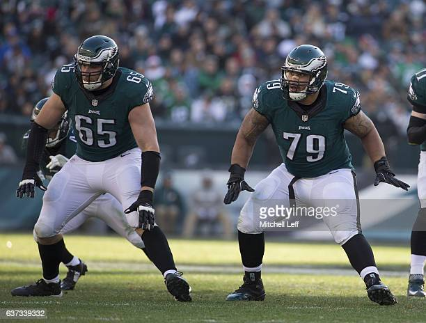 Lane Johnson and Brandon Brooks of the Philadelphia Eagles block against the Dallas Cowboys at Lincoln Financial Field on January 1 2017 in...