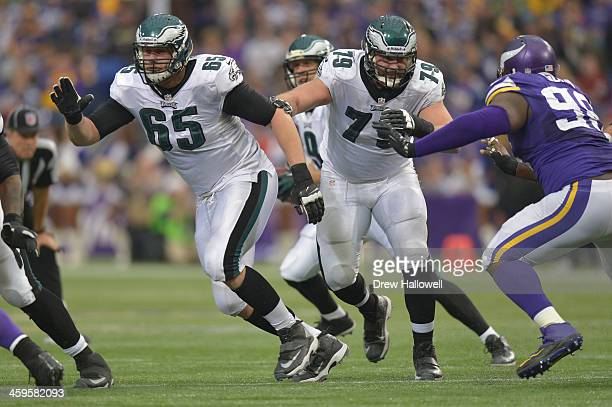 Lane Johnson and Todd Herremans of the Philadelphia Eagles block against the Minnesota Vikings at Mall of America Field on December 15 2013 in...
