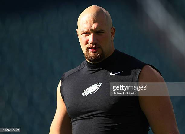 Lane Johnson of the Philadelphia Eagles before the start of a football game against the Miami Dolphins at Lincoln Financial Field on November 15 2015...