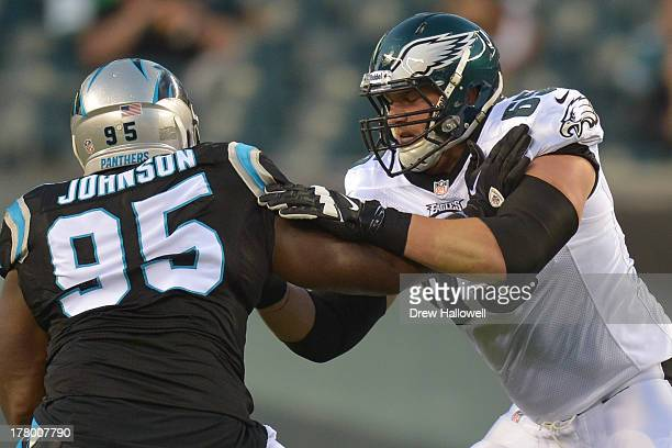 Lane Johnson of the Philadelphia Eagles blocks against the Carolina Panthers at Lincoln Financial Field on August 15 2013 in Philadelphia...
