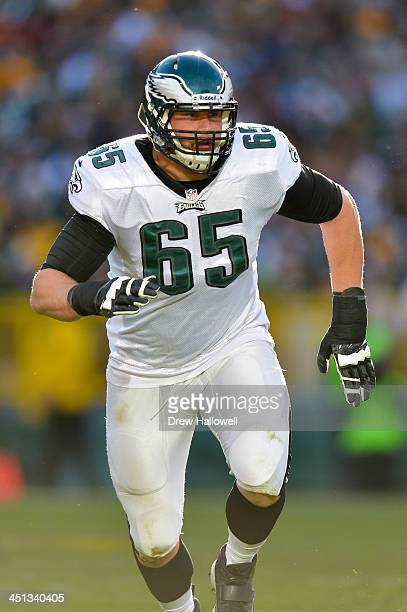 Lane Johnson of the Philadelphia Eagles blocks against the Green Bay Packers at Lambeau Field on November 10 2013 in Green Bay Wisconsin
