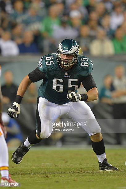 Lane Johnson of the Philadelphia Eagles blocks against the Kansas City Chiefs at Lincoln Financial Field on September 19 2013 in Philadelphia...