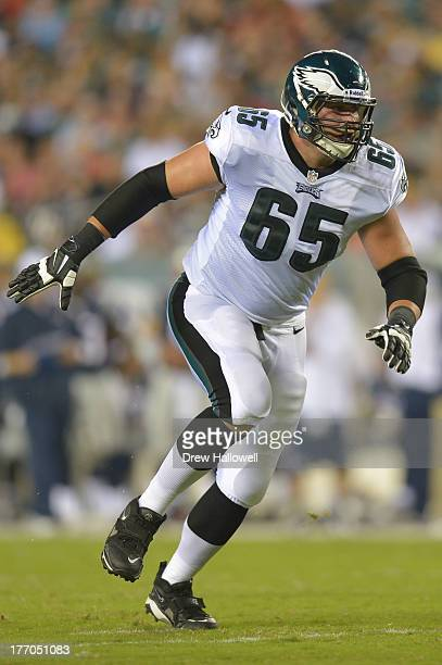 Lane Johnson of the Philadelphia Eagles blocks against the New England Patriots at Lincoln Financial Field on August 9 2013 in Philadelphia...