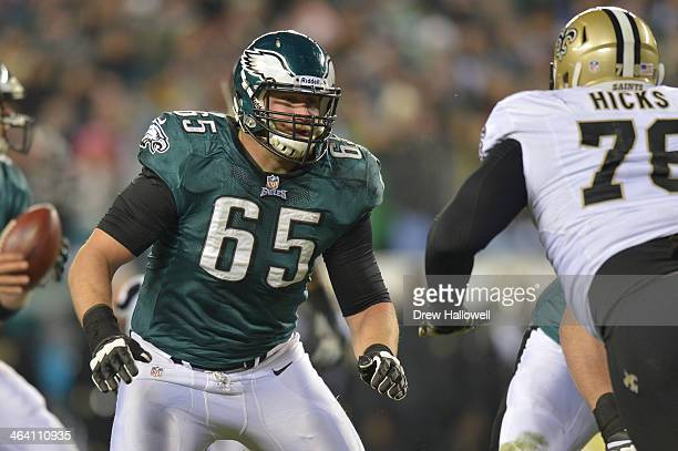 Lane Johnson of the Philadelphia Eagles blocks against the New Orleans Saints at Lincoln Financial Field on January 4 2014 in Philadelphia...