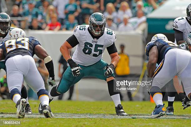 Lane Johnson of the Philadelphia Eagles pass blocks during a game against the San Diego Chargers on September 15 2013 at Lincoln Financial Field in...
