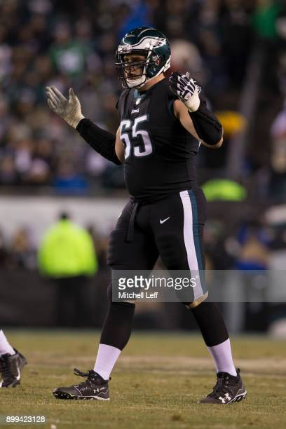 Lane Johnson of the Philadelphia Eagles reacts against the Oakland Raiders at Lincoln Financial Field on December 25 2017 in Philadelphia Pennsylvania