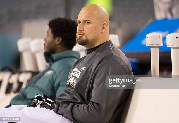 Lane Johnson of the Philadelphia Eagles sits on the bench prior to the game against the Washington Redskins on December 26 2015 at Lincoln Financial...