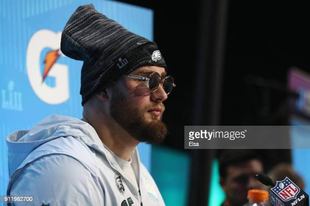 Lane Johnson of the Philadelphia Eagles speaks to the media during Super Bowl Media Day at Xcel Energy Center on January 29 2018 in St Paul Minnesota...