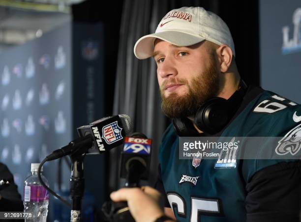 Lane Johnson of the Philadelphia Eagles speaks to the media during Super Bowl LII media availability on January 31 2018 at Mall of America in...