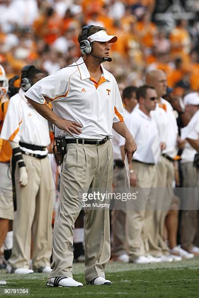 Lane Kiffin, head coach of the Tennessee Volunteers looks on against the UCLA Bruins on September 12, 2009 at Neyland Stadium in Knoxville,...