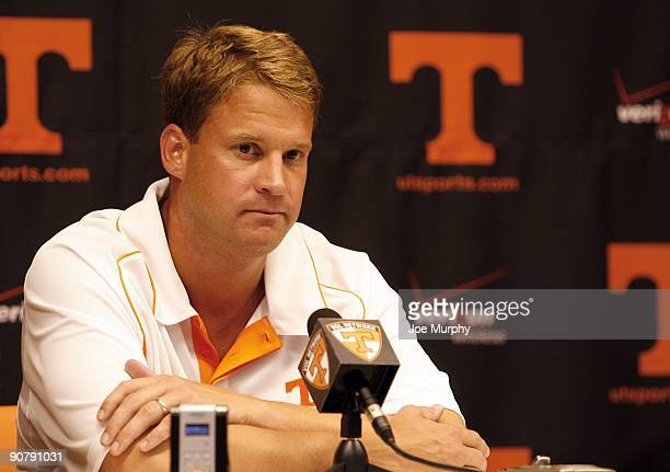 Lane Kiffin head coach of the Tennessee Volunteers talks in the press conference after a game against the UCLA Bruins on September 12 2009 at Neyland...