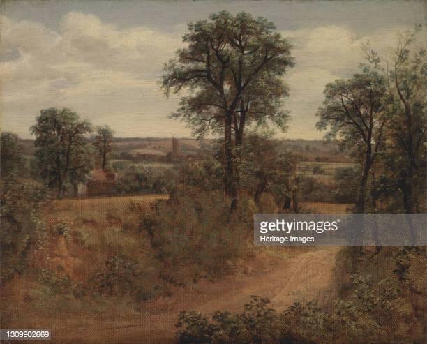 Lane near Dedham;Road near Dedham;Fen Bridge Lane;A Road Near Dedham;View of Dedham Church from Flatford Lane, 1802. Artist John Constable. .